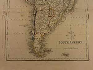 1861 Color Steel Map SOUTH AMERICA Brazil Peru Patagonia Amazon 41cm X 32cm: John Wykeham Archer