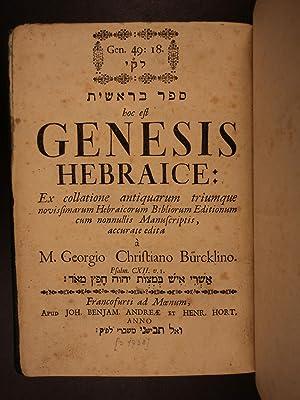 1738 Hebrew Bible GENESIS Biblia Hebraica Georg Burcklin Torah + Commentary: Georg Christian ...