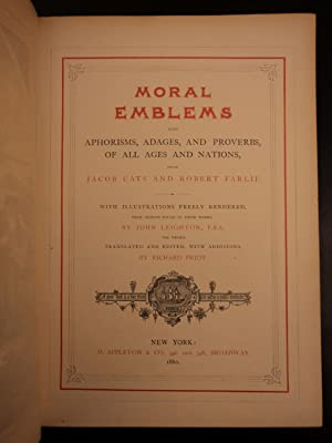 1860 1st ed Moral Emblems of Jacob Cats Illustrated Dutch Poetry Fine Binding: Jacob Cats; Robert ...