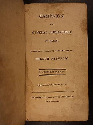 1798 1st American ed Napoleon Bonaparte in ITALY French Revolution War Campaigns: Francois Rene ...