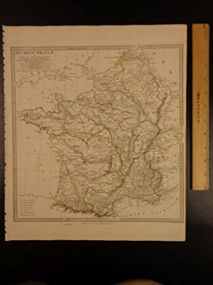 1844 BEAUTIFUL Huge Color MAP Ancient France: J & C
