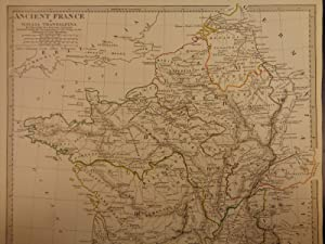 1844 BEAUTIFUL Huge Color MAP Ancient France Gallia Transalpina Paris ATLAS: J & C Walker
