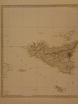 1844 BEAUTIFUL Huge Color MAP of Southern Modern Italy Sicily ATLAS: J & C Walker