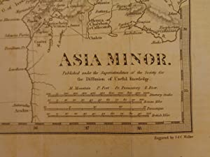1844 BEAUTIFUL Huge Color MAP of Ancient TURKEY Asia Minor Cyprus ATLAS