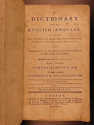 1786 Samuel Johnson FAMOUS Dictionary of English Language Americana Lexicon: JOHNSON, Samuel.