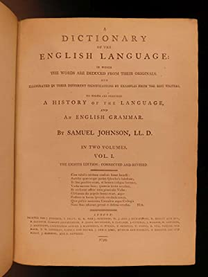 1799 Samuel Johnson FAMOUS Dictionary of English Language Americana Lexicon 2v: JOHNSON, Samuel.