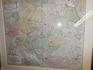 Circulus Franconicus<. Original- Flächen- und Grenz- kolorierte Kupferstichkarte: Franken ...