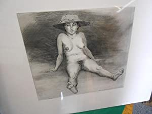 Frauenbildnisse: Frau B. K. Frauenakt, en face, sitzend mit den Händen abstützend, breit-...