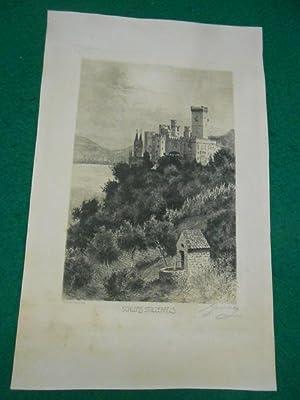 Schloss Stolzenfels. [Rheinland-Pfalz.] Original- Radierung, links unten: Jander: