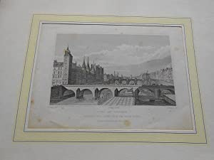 Pont au Change; (Looking West Taken from the Water-Works), Paris Frankreich; Teilansicht. Origina...