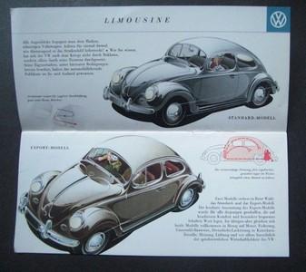 Volkswagen. Farbiger Prospekt mit unterschiedlichen Käfermodellen. Abgebildet