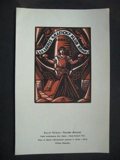 Ex-Libris Schildchen für den Graficky Klub BRNO.: NEMEC, KAREL: