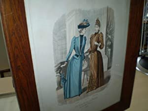 2 elegante Damen in Straßenkleidung. Kolorierter Stahlstich: Mode - Lefranco: