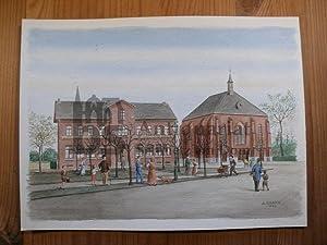 Aachen - Rothe Erde, St. Barbara Aquarell: Grawe, A[nton].