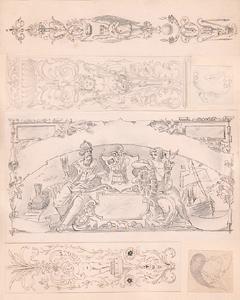 Bildhauer. EntwŸrfe fŸr Skulpturen und Kirchenschmuck, Bleistift: Huber, Johann (geb.