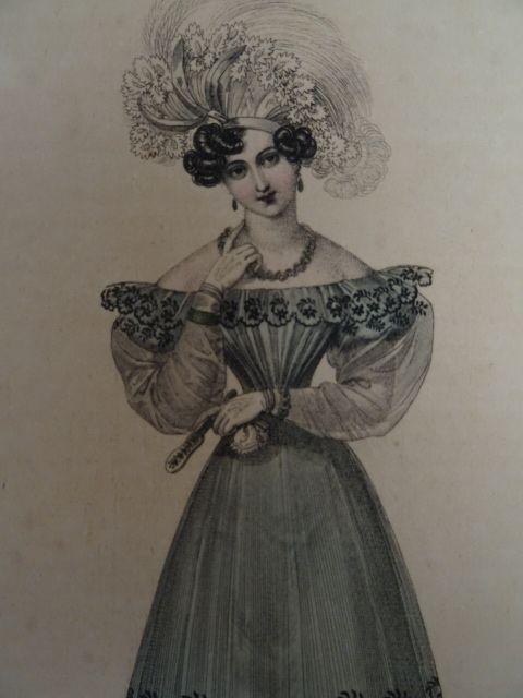 Wiener Moden. Altkolor. Kupferstich von Stöber, 1828.: Mode.-