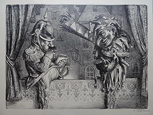 Kasper und Gendarm. Kreidelithographie von 1941. Signiert. 33,5 x 45,1 cm.: Weber, A. Paul.