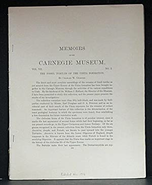Fossil Turtles of the Uinta Formation: Memoirs of the Carnegie Museum, Vol. VII, No. 2: Gilmore, ...