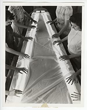 Modernist WWII Press Photograph of Women Testing Parachutes for Flaws with Light