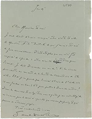 Autograph Letter to Prunieres, Lamenting a Missed: Bartók, Béla. (1881-1945)]