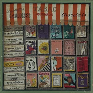Graphically Interesting Framed French printed scarf with Newsstand Illustration