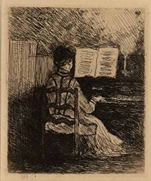 Madame Gachet au Piano. ETCHING BY THE FAMOUS DOCTOR OF VAN GOGH