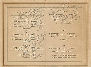 Signed 1934 Program to Mrs. Lawrence Tibbett: Heifetz, Jascha. (1901-1987)