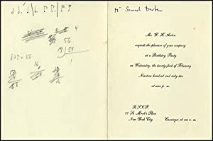 Birthday Invitation addressed to Samuel Barber, with autograph musical notations