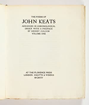 The Poems. Arranged in chronological order with: Keats, John.