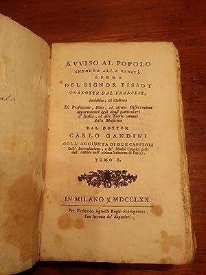 AVVISO AL POPOLO INTORNO ALLA SANITA'. ( TRE TOMI, COMPLETO): TISSOT SAMUEL AUGUSTE ANDRE ...