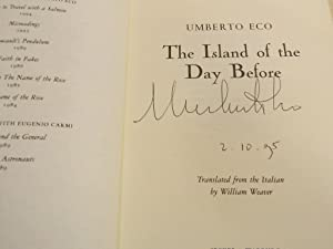 The Island of the Day Before- SIGNED & PUBLICATION DATED FIRST EDITION: Eco, Umberto