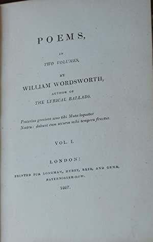 POEMS,; in two volumes by author of The Lyrical Ballads: WORDSWORTH, William