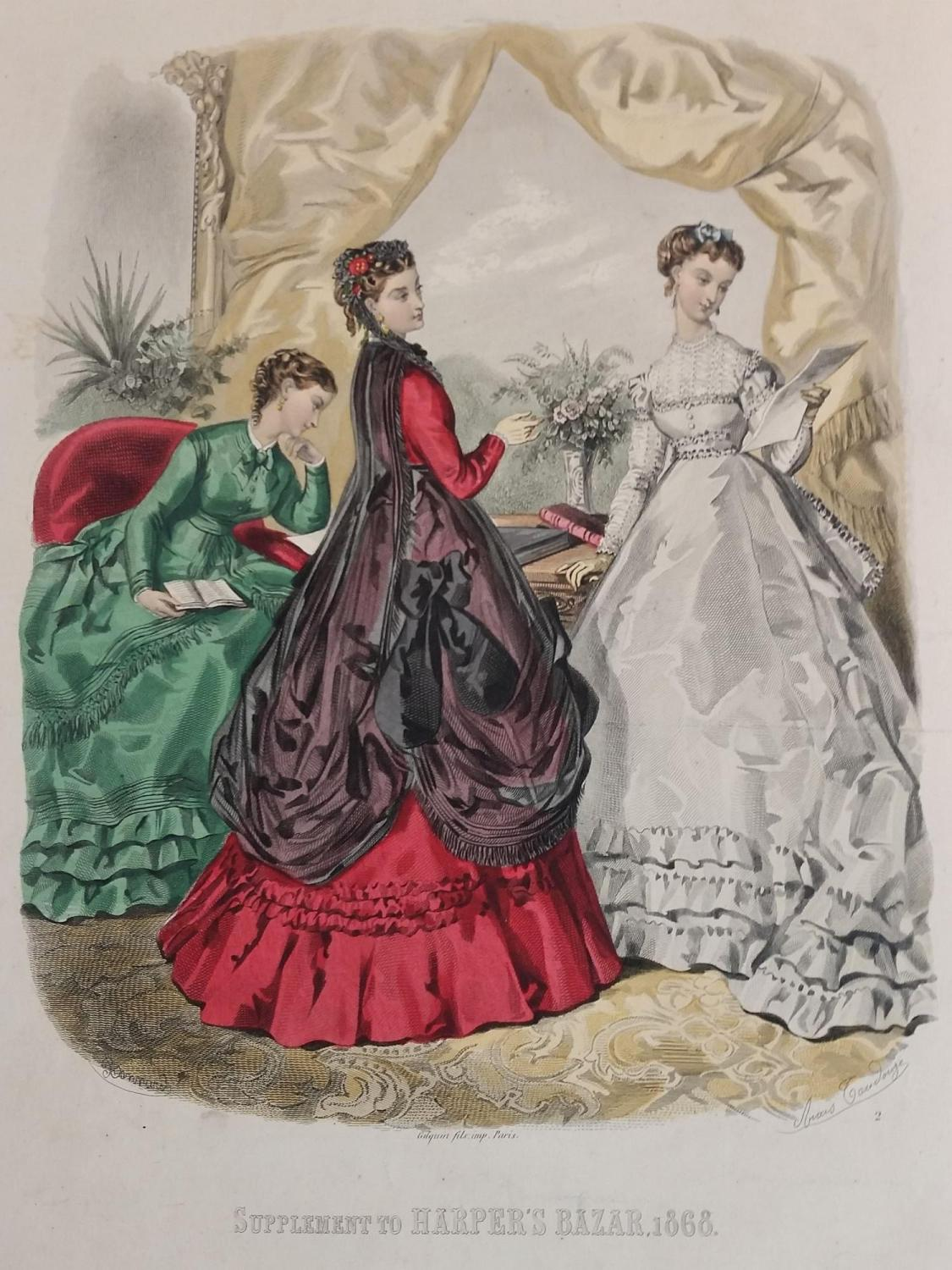 HAND-COLORED 19TH-CENTURY FRENCH AND ENGLISH FASHION PLATES Various Authors Softcover Approx. 550 octavo and quarto skillfully hand colored plates depicting the latest fashion trends primarily out of Paris for women and children. The pl