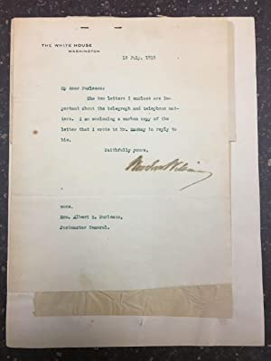 TLS BETWEEN PRESIDENT WOODROW WILSON AND POSTMASTER GENERAL ALBERT S. BURLESON REGARDING THE TELE...