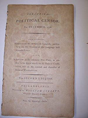 PORCUPINE's POLITICAL CENSOR FOR DEC 1796