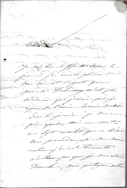 COLET Louise COLET Louise Fine Manuscrit Lettre autographe signée, datée 26 octobre 1838 (cachet de la poste), adressée à Madame Pilate . Elle est souffrante, et réclame l'argent dû