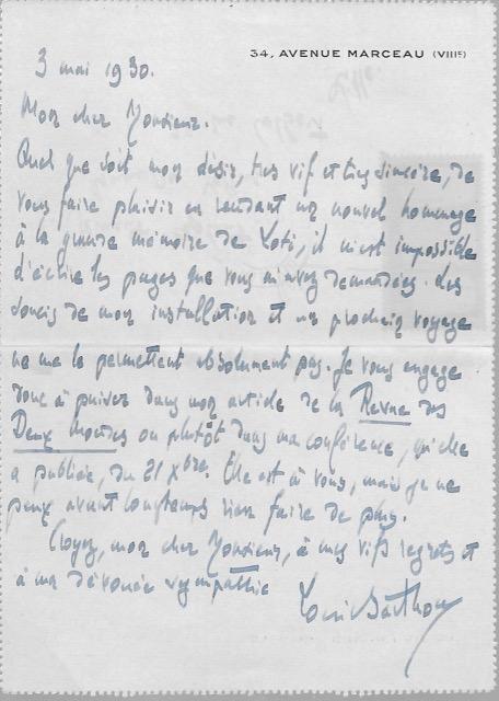 BARTHOU Louis BARTHOU Louis Manuscrit Lettre autographe signée : il ne peut écrire un nouvel article sur Loti, mais autorise son correspondant à utiliser ce qui a paru dans la re