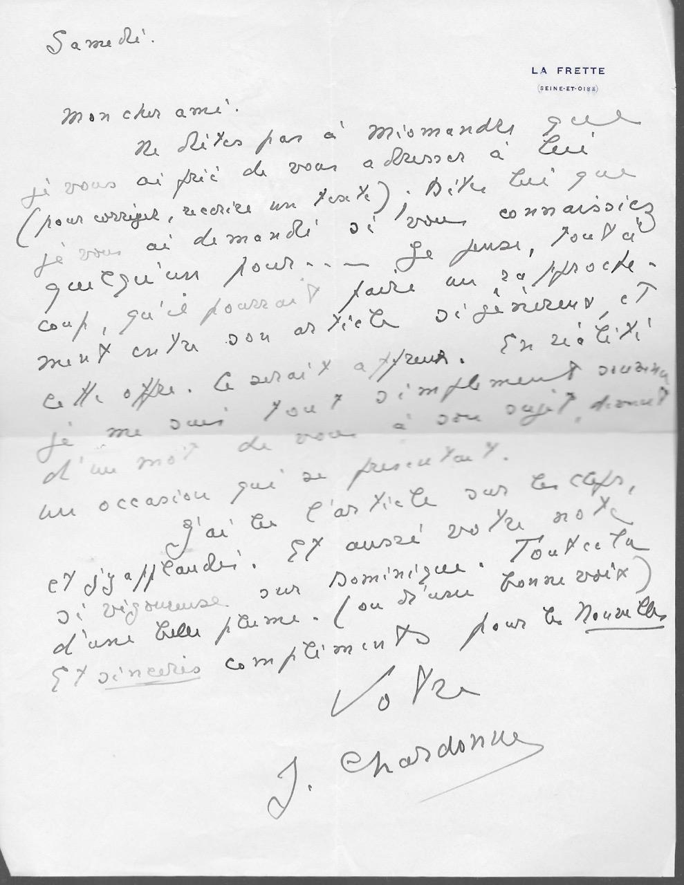 Lettre_autographe_signée_CHARDONNE_Jacques_Très_bon