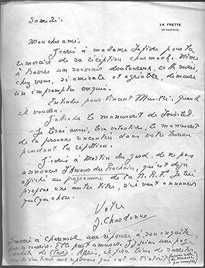 Lettre autographe signée: CHARDONNE Jacques