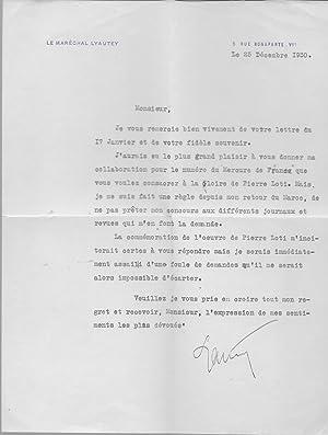 Lettre tapuscrite signée: LYAUTEY
