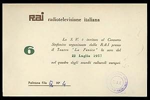 """Invito al Teatro """"La Fenice"""" 1957 RAI"""