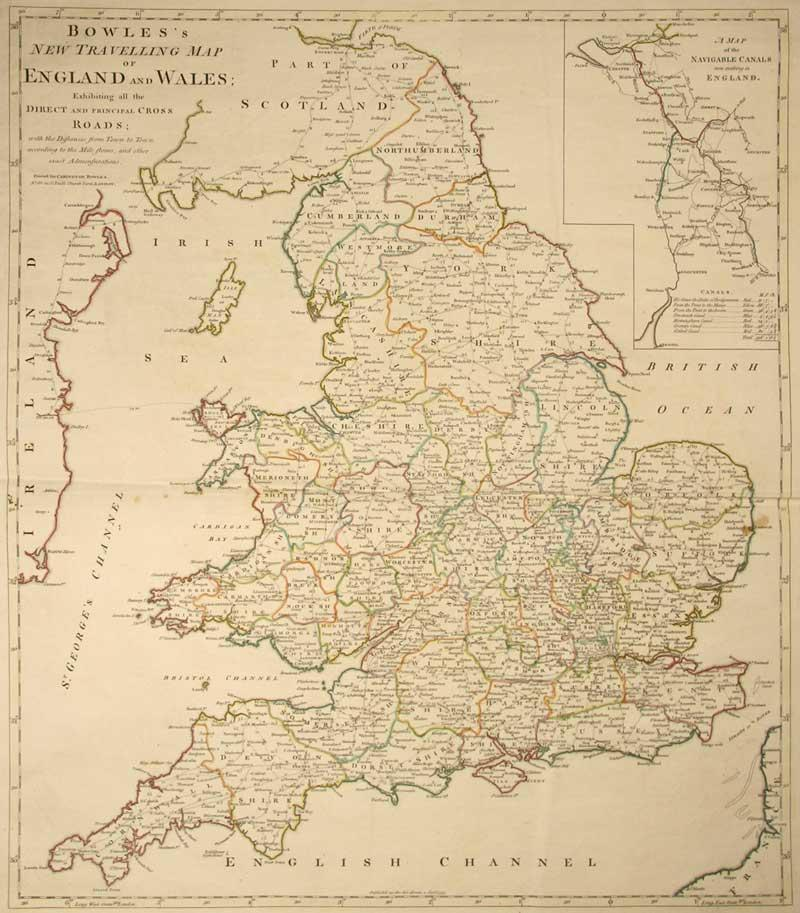Road Map Of England And Wales With Towns.Vialibri Bowles New Travelling Map England And Wales Exhibiting