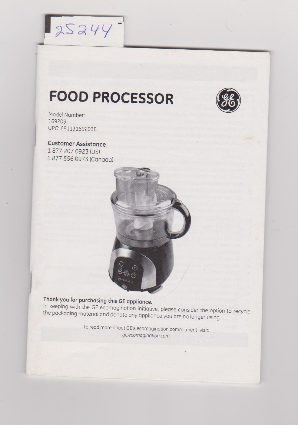 general electric food processor user manual for model 169203 ge rh iberlibro com GE Food Processor Recipes General Electric Food Processor Blades
