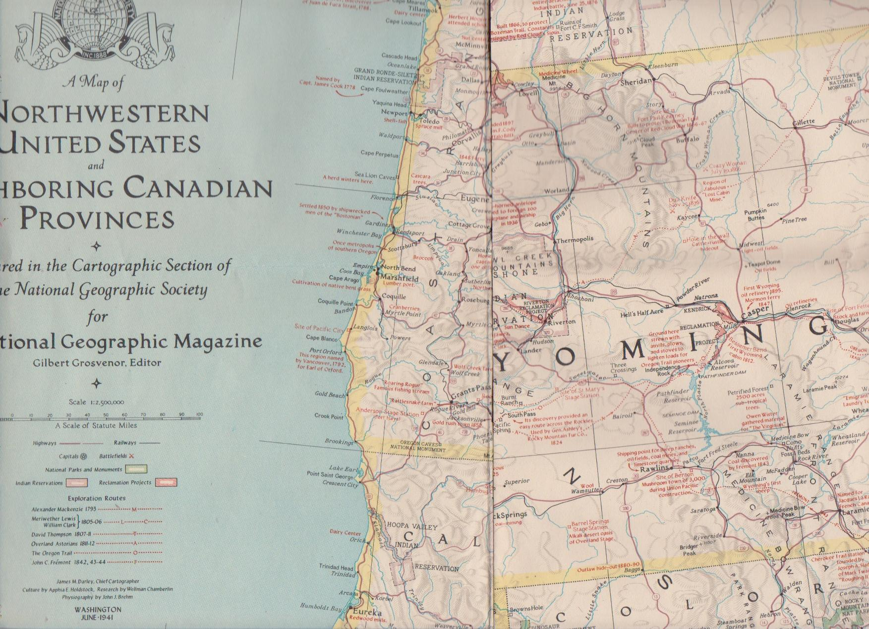 NATIONAL GEOGRAPHIC MAP OF THE NORTHWESTERN UNITED STATES AND ...