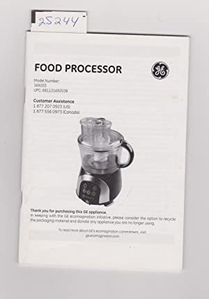 GENERAL ELECTRIC FOOD PROCESSOR USER MANUAL FOR MODEL 169203 - GE PROCESADOR DE ALIMENTOS MAUAL ...