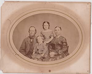 VINTAGE PRE-1900 FAMILY SEPIA PHOTOGRAPH SHOWING MOTHER, FATHER, 2 CHILDREN WHICH ARE AN OLDER SI...