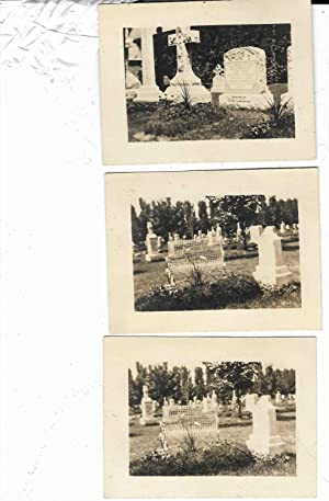 3 VINTAGE CEMETARY TOMBSTONE GRAVESTONE PHOTOGRAPHS ONE OF WHICH IS OF REV. JOSEPH NETZEL
