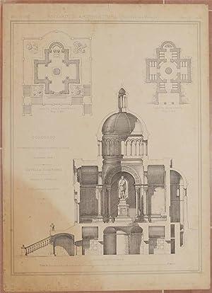 CONCORSO GOVERNATIVO ANNUALE DI PRIMA CLASSE DICEMBRE 1878 CAPPELLA FUNERARIA PROGETTO PREMIATO ...