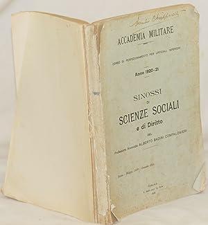 SINOSSI DI SCIENZE SOCIALI E DI DIRITTO ANNO 1920-21,: Alberto Badini Confalonieri