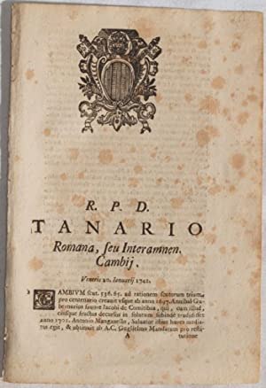 R. P. D. TANARIO ROMANA, SEU INTERAMNEN CAMBIIVENERIS 20 JANUARII 1741,